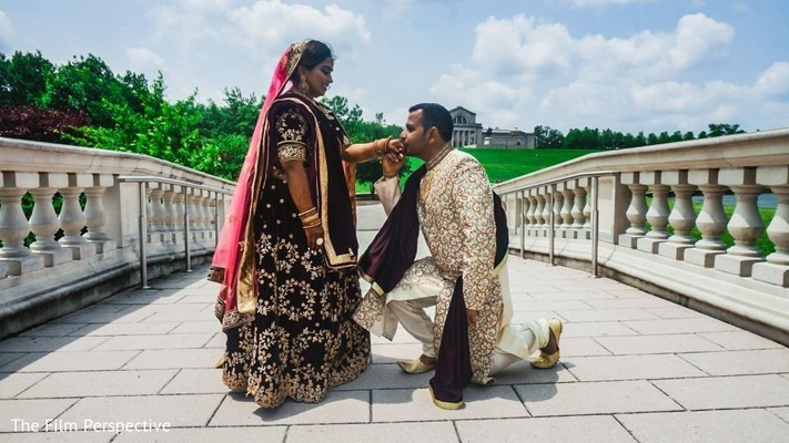 Indian groom outdoors with the Maharani.