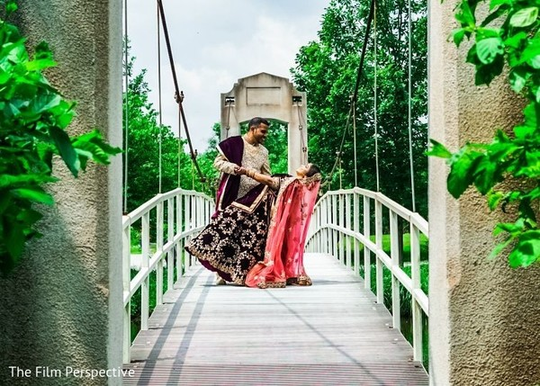 Raja and Maharani posing for the Indian wedding photoshoot.