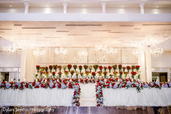 Hindu altar decorated with flowers.