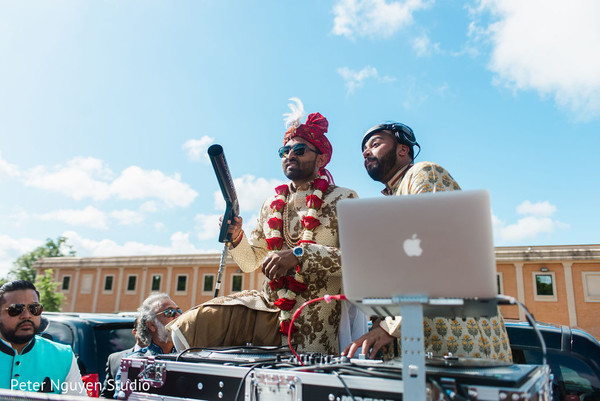 Indian groom partying his way to the wedding venue
