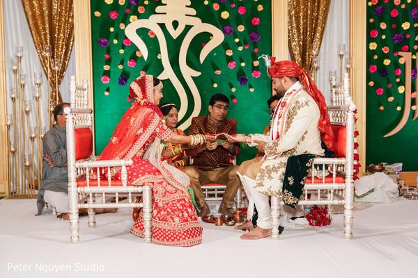 Indian couple during hindu wedding ritual/