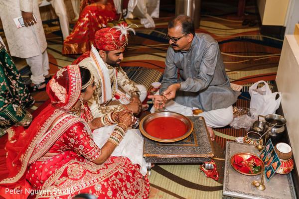 Maharani and Raja doing Hindu wedding ritual.