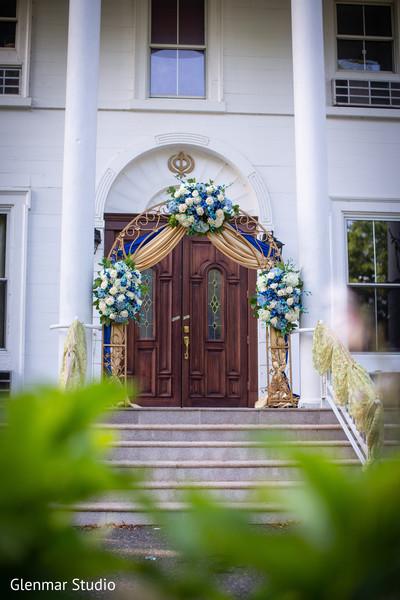 Decor details of the Indian wedding venue entrance.