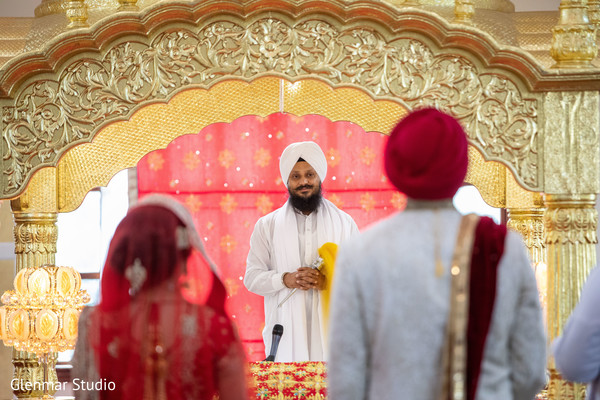 Officiant during the Indian wedding nuptials.