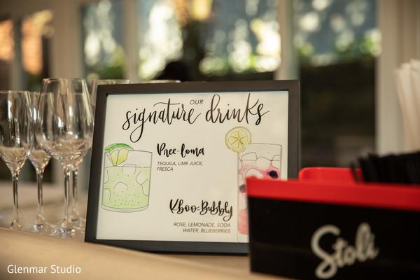 Drink menu design for the Indian wedding reception.