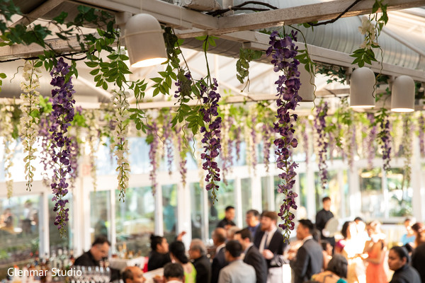 Floral decor of the Indian wedding venue.