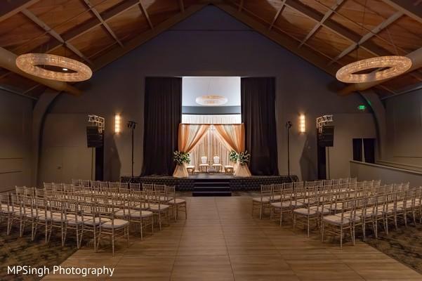 Indian wedding ceremony venue setup.