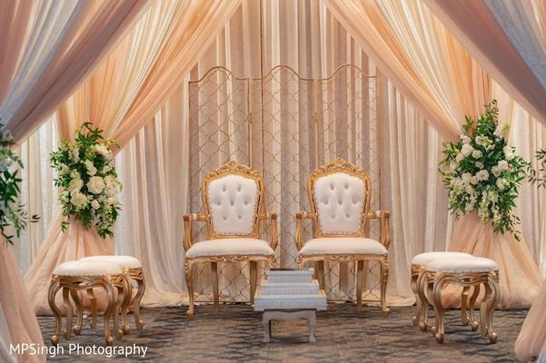 Indian wedding ceremony mandap seats.