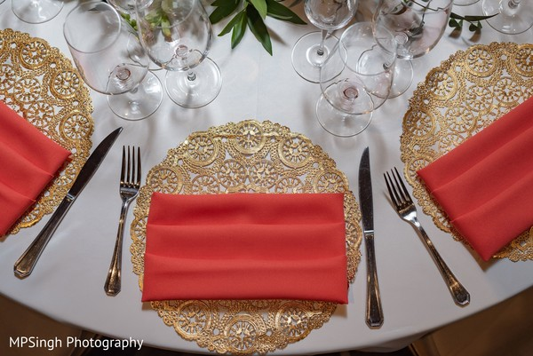 Red Indian wedding table napkins.