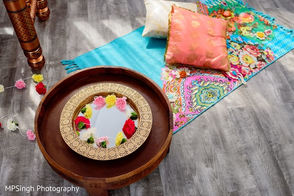 Indian wedding golden decorated thali.