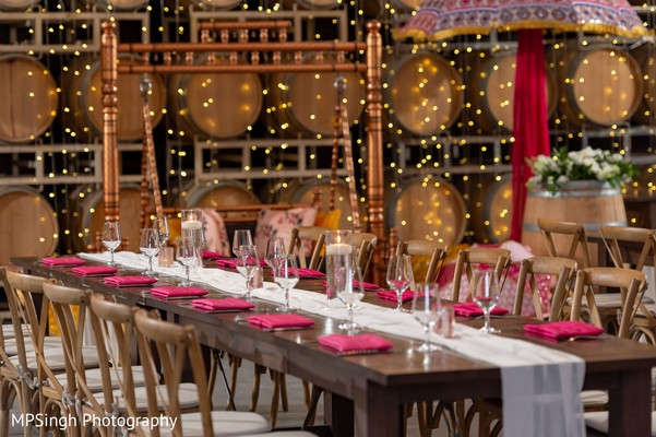 Indian Sangeet table setup and decoration.