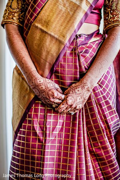 Indian bride's saree design close up.
