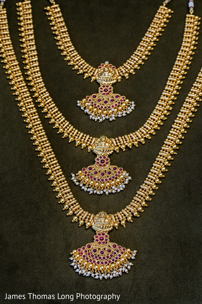 Maharani's bridal jewelry on display.
