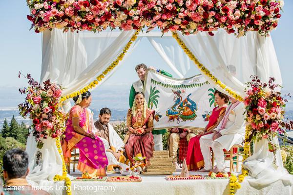 Maharani and Raja about to meet under the mandap.