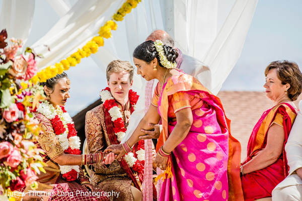 Indian bride and groom during the Indian wedding ceremony.