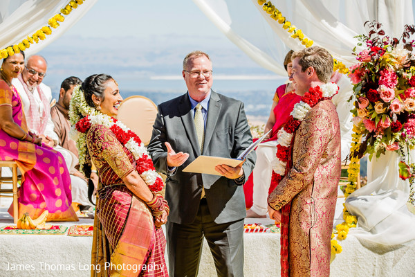 Officiant during the Indian wedding ceremony.