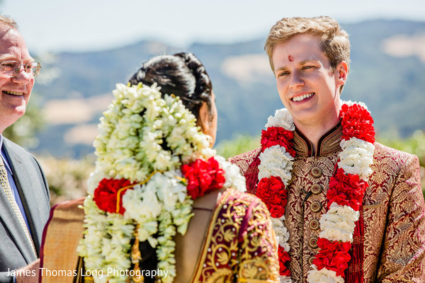 Indian groom wearing the bindi during the celebration.