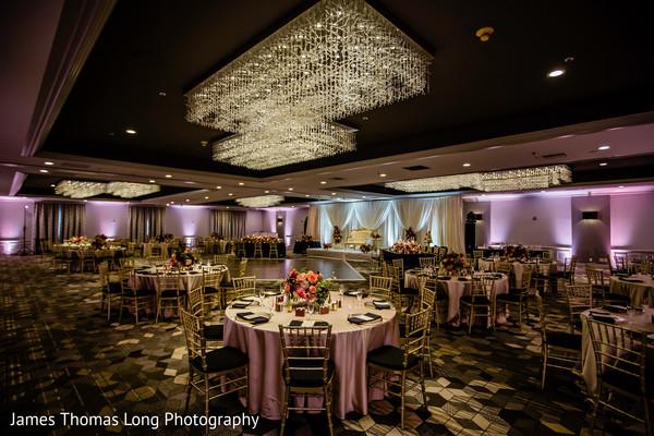 Indian wedding reception venue lights decorations,
