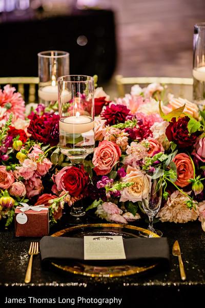 Indian wedding reception tableware closeup capture.