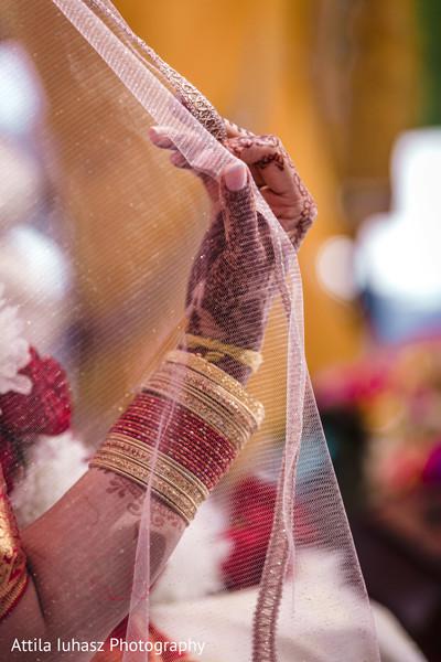 Maharani's mehndi art, bracelets and veil.