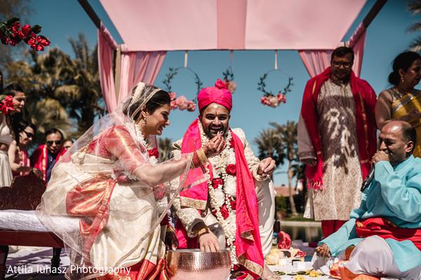 Indian couple during hindu wedding ritual.