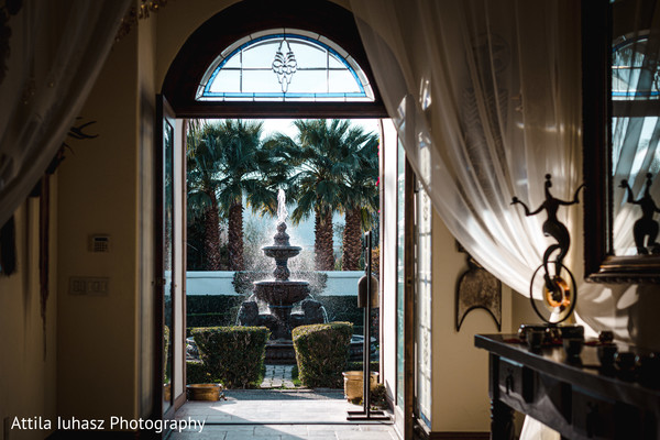 The inside view from one of the rooms towards a fountain.