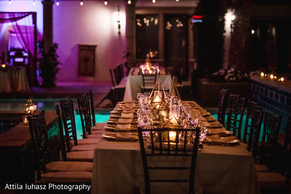 Table decorated with candles.