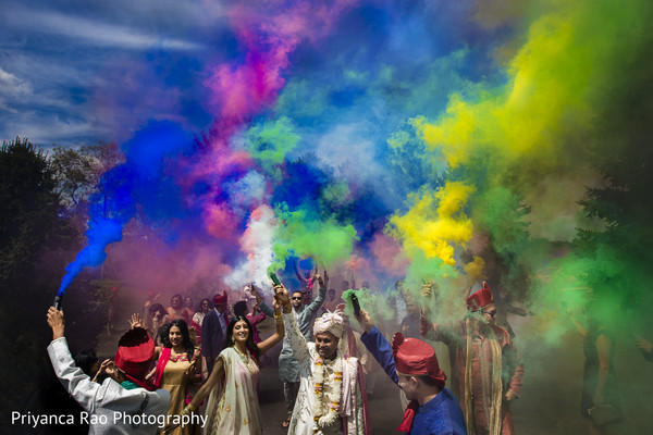 Indian wedding's Baraat celebration overview.
