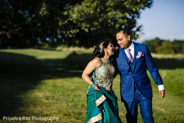 Indian bride and groom outside during pictures.