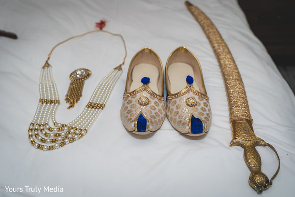 The sword, shoes and jewels to be worn by the Indian groom