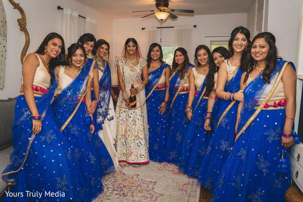 Maharani and her bridesmaids on a waiting room