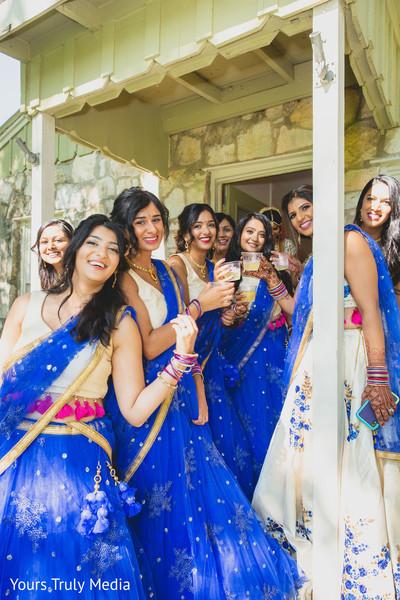 Maharani and Indian bridesmaids sharing some drinks