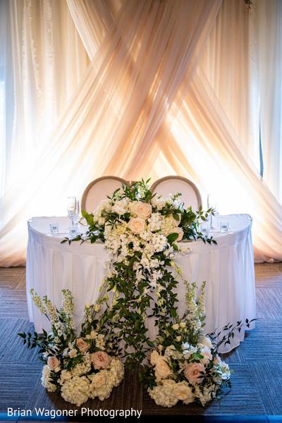 Indian lovebirds white wedding reception table decor.