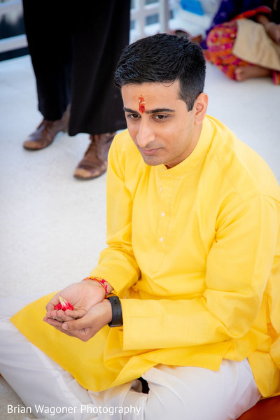 Indian groom with his red mark on forehead.