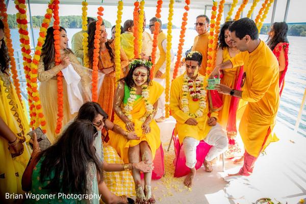 Yellow Haldi for the bride.