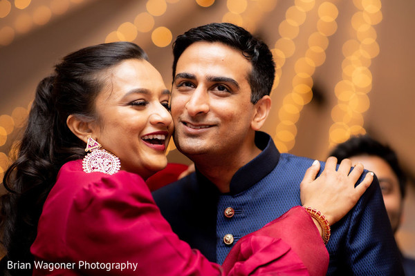 Indian couple at sangeet sweet capture.