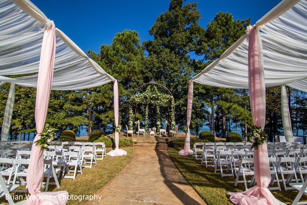 White and pink Indian wedding ceremony draping decoration.