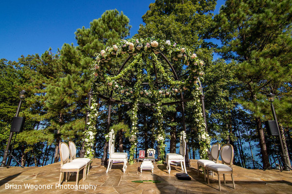 Dreamy mandap flowers and leafs decoration.