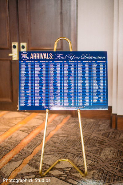 Indian wedding arrivals sign.