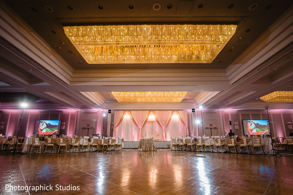 Dance floor and table setup prior to the reception gala.