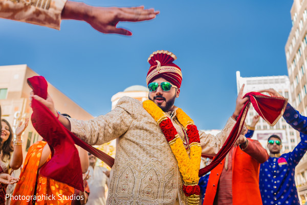 Indian groom during the Baraat celebrations.