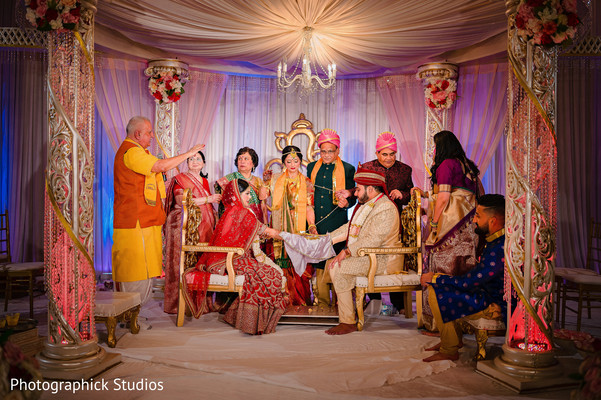 Indian bride and groom during the ceremonial rituals.