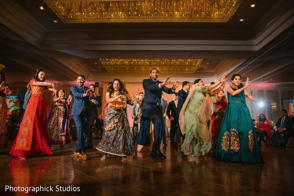 Special guests performing a choreography during the reception.