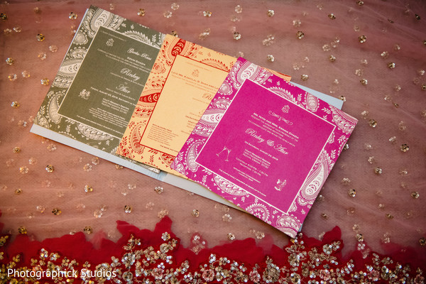 Indian wedding invitations details.