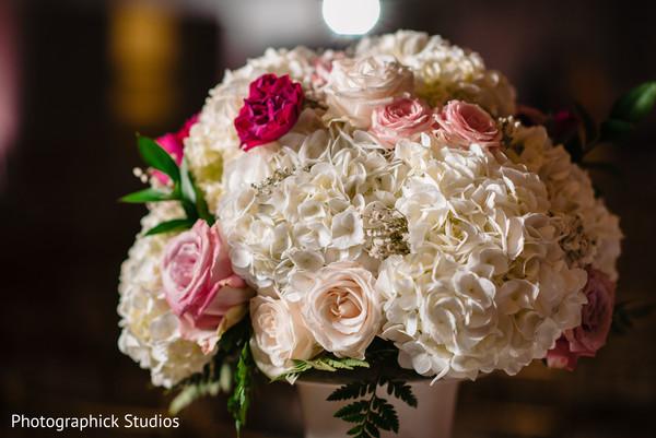 Close up capture of the Indian wedding floral arrangements.
