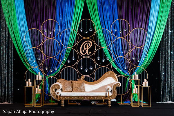 Stage decorated for photo shoot.