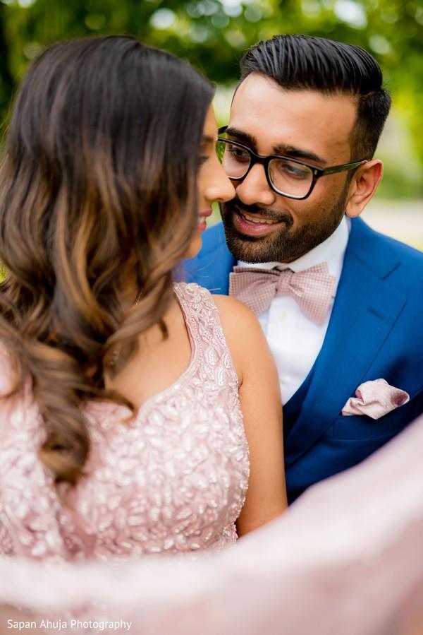 Indian couple in formal wear photo portrait.