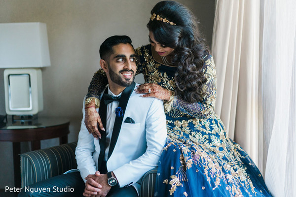Indian newlywed's pre-wedding reception photoshoot.