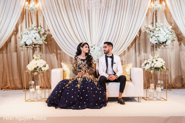 Indian bride and groom inspiring reception outfits.