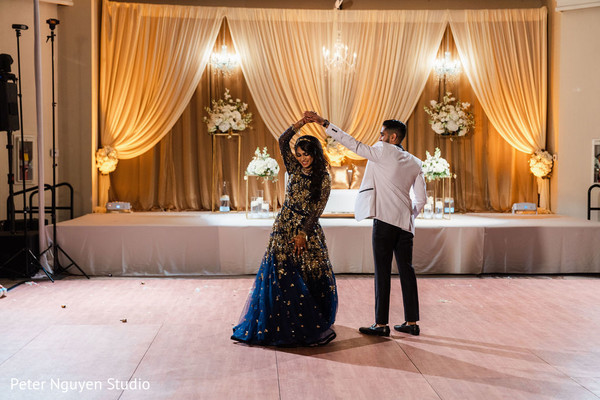 Indian couple taking the dance floor.